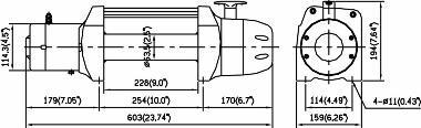 Габаритные размеры автомобильной электрической лебёдки Come-Up DS-9.5.
